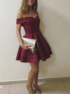 A-Line Off-the-Shoulder Satin Short Dress