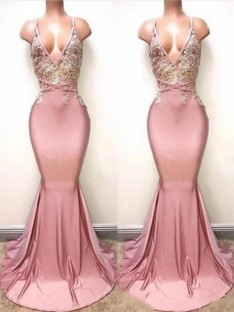 Mermaid V-neck Sweep/Brush Train Lace Satin Dress