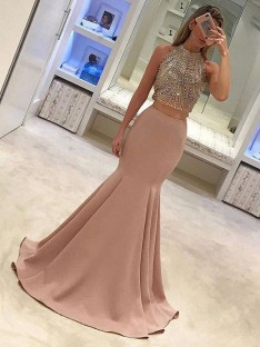 Mermaid High Neck Sweep/Brush Train Satin Two Piece Dress