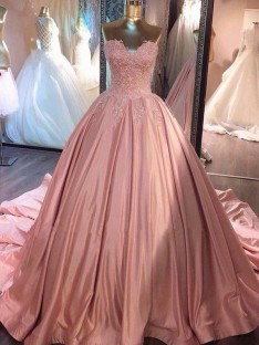 Ball Gown Sweetheart Court Train Lace Satin Dress
