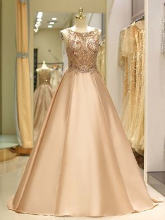 Ball Gown Bateau Sweep/Brush Train Satin Dress