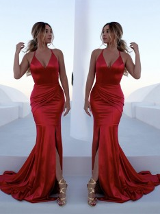 Mermaid Halter Sweep/Brush Train Satin Dress