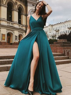 A-Line Straps Sweep/Brush Train Satin Chiffon Dress