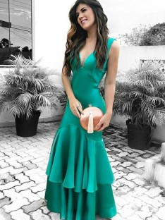 Sheath V-neck Floor-Length Satin Dress