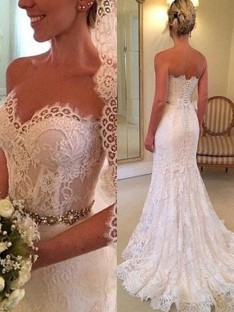 Sheath Sweetheart Sweep/Brush Train Lace Wedding Dress