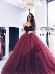 Ball Gown Sweetheart Sweep/Brush Train Tulle Dress