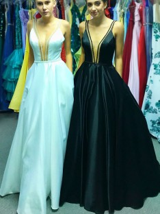 A-Line V-neck Floor-Length Satin Dress