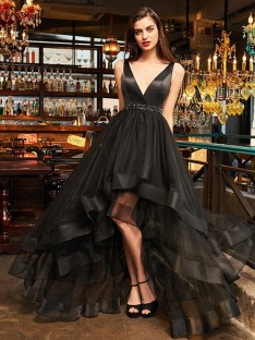 A-Line V-neck Asymmetrical Organza Dress