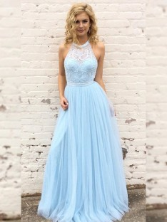 A-Line Tulle Lace Halter Floor-Length Dress