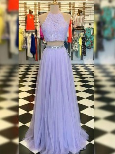 A-Line Tulle Lace Halter Floor-Length Two Piece Dress