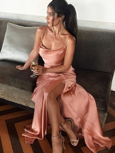 Sheath Spaghetti Straps Long Silk like Satin Dress