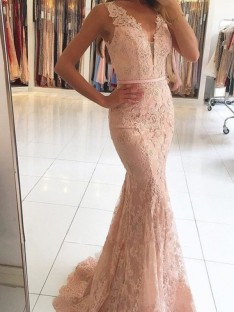 Mermaid V-neck Long Lace Dress