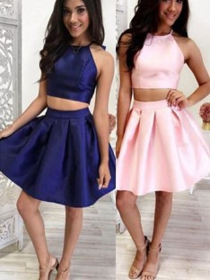 A-Line Satin Halter Short Two Piece Dress