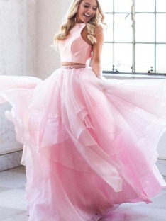 A-Line Scoop Tulle Floor-Length Two Piece Dress