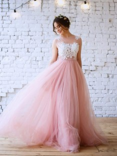 A-Line/Princess Bateau Sweep/Brush Train Tulle Dress