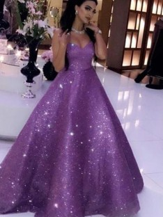 Ball Gown Sweetheart Sweep/Brush Train Sequins Dress