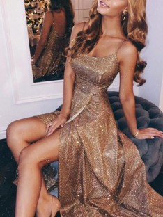 A-Line/Princess Spaghetti Straps Floor-Length Sequins Dress