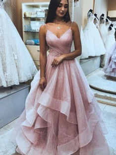 A-Line/Princess Spaghetti Straps Floor-Length Organza Dress