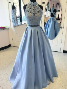 Ball Gown High Neck Floor-Length Satin Two Piece Dress