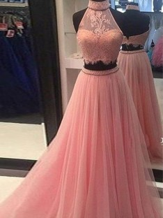 A-Line High Neck Tulle Floor-Length Two Piece Dress