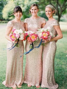 Sheath Bateau Long Sequins Bridesmaid Dress