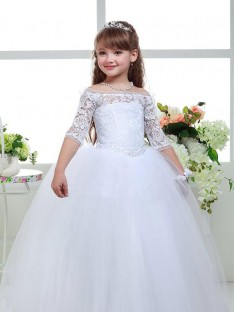 Ball Gown Off-the-Shoulder Lace Floor-Length Tulle Flower Girl Dress