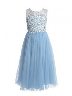 A-Line/Princess Jewel Lace Floor-Length Tulle Flower Girl Dress