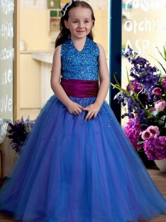 Ball Gown Halter Floor-Length Sequins Tulle Flower Girl Dress