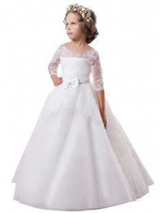 Ball Gown Jewel Lace Floor-Length Satin Flower Girl Dress