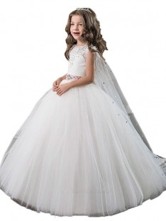 Ball Gown Jewel Floor-Length Tulle Flower Girl Dress