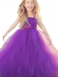 Ball Gown Straps Floor-Length Tulle Flower Girl Dress