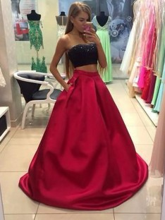 A-Line/Princess Strapless Tulle Floor-Length Two Piece Dress