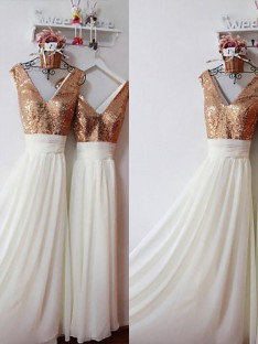 A-Line Chiffon V-neck Floor-Length Sequin Bridesmaid Dress