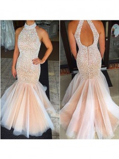 Mermaid Halter Tulle Sweep/Brush Train Dress