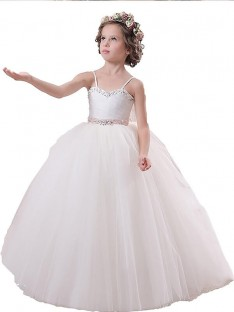 Ball Gown Spaghetti Straps Floor-Length Tulle Flower Girl Dress