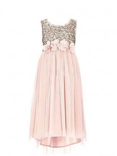 A-line/Princess Scoop Sequin Chiffon Floor-Length Flower Girl Dress
