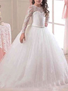 Ball Gown Scoop Floor-Length Lace Tulle Flower Girl Dress