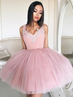 A-Line V-neck Tulle Short Dress