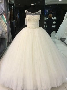 Ball Gown Scoop Tulle Floor-Length Wedding Dress
