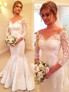 Trumpet/Mermaid Satin Off-the-Shoulder Lace Court Train Wedding Dress