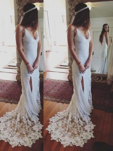 Sheath/Column Straps Lace Court Train Wedding Dress