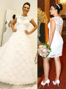 Ball Gown Scoop Lace Floor-Length Wedding Dress