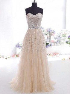 A-Line Sweetheart Tulle Long Dress