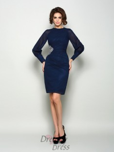 Long Sleeves High Neck Chiffon Knee-Length Mother of the Bride Dress