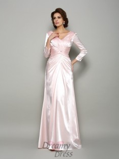 Long Sleeves V-neck Silk like Satin Floor-Length Mother of the Bride Dress