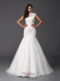 Mermaid High Neck Sweep/Brush Train Organza Wedding Dress