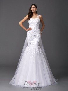 Mermaid Straps Net Sweep/Brush Train Wedding Dress