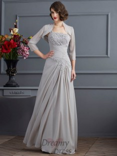 One-Shoulder Chiffon Floor-Length Mother of the Bride Dress
