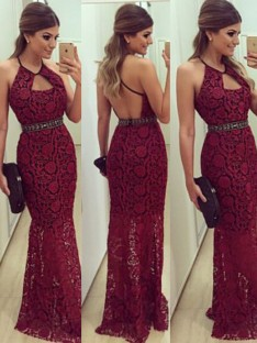 Sheath/Column Sleeveless Floor-Length Halter Lace Dresses