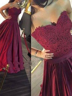 A-Line/Princess Sweetheart Sleeveless Lace Satin Floor-Length Dresses